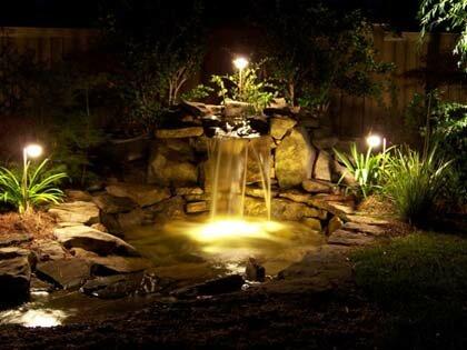 освещение водопада на даче