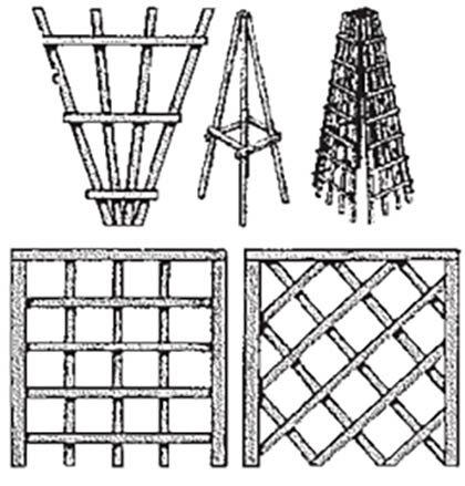 схема опоры для плетистой розы